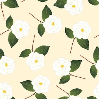 ベージュアイボリーの背景に白い椿花。