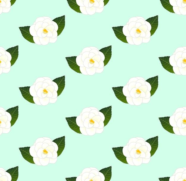 White camellia flower seamless on green mint background