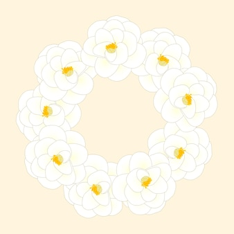 White camellia flower wreath