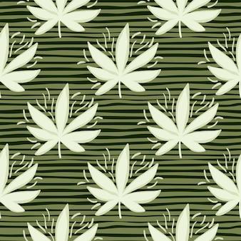白い大麻の葉のシームレスなパターン。緑の背景を削除しました。壁紙、包装紙、テキスタイルプリント、ファブリックの装飾的な背景。図。