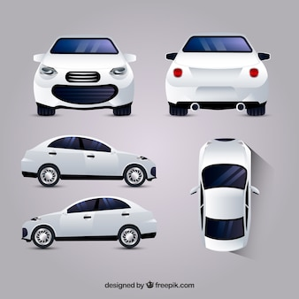 White car in different views