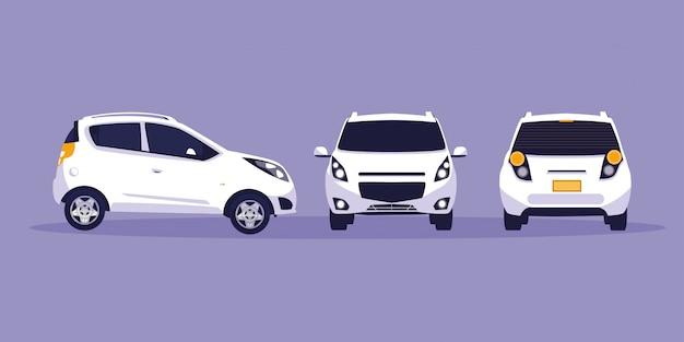 Белый автомобиль в мастерской технического обслуживания