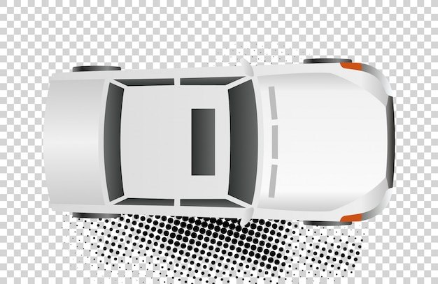 White car top view vector illustration. flat design auto. isolated sedan