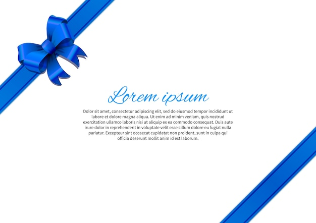 White card template with blue bow and text template
