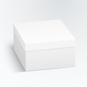 White cardboard box, container, packaging isolated on white background.