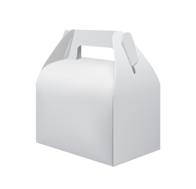 White cardboard carry box for food