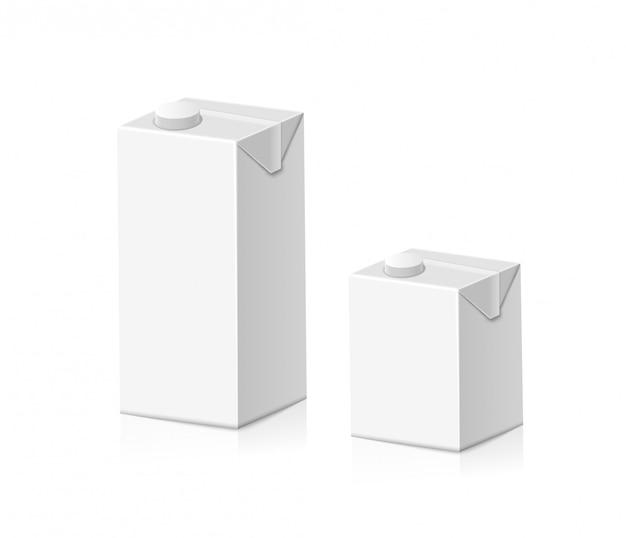 Белый картонный пакет для сока или молока