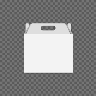 White cardboard lunch box vector on transparent background.