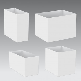 White cardboard opened square gift box different sizes