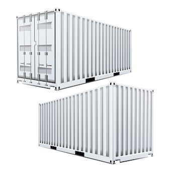 White cargo container 3d