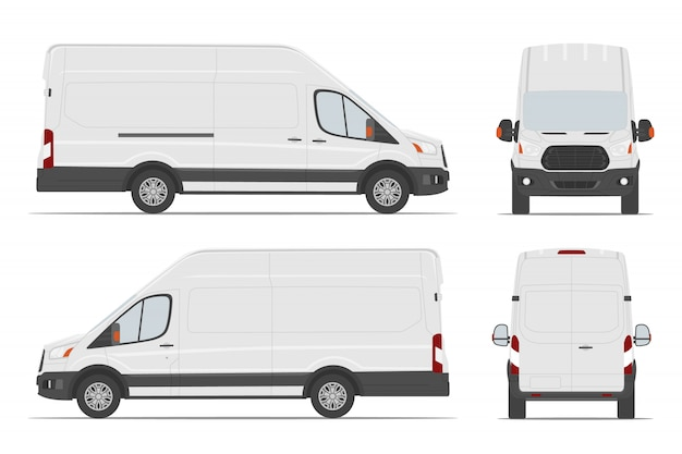 White cargo van car template in different angles.