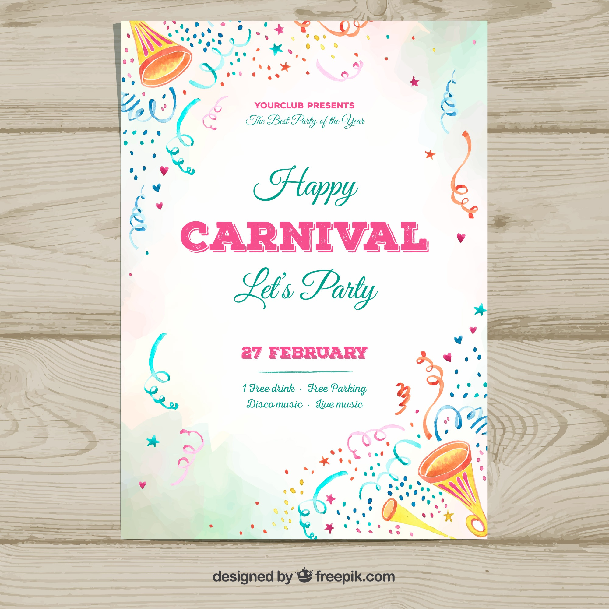 White carnival party flyer template