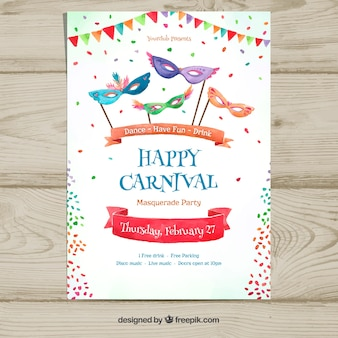 White carnival party poster template