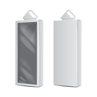 White carton boxes with plastic hanging hole. realistic   packaging. software box