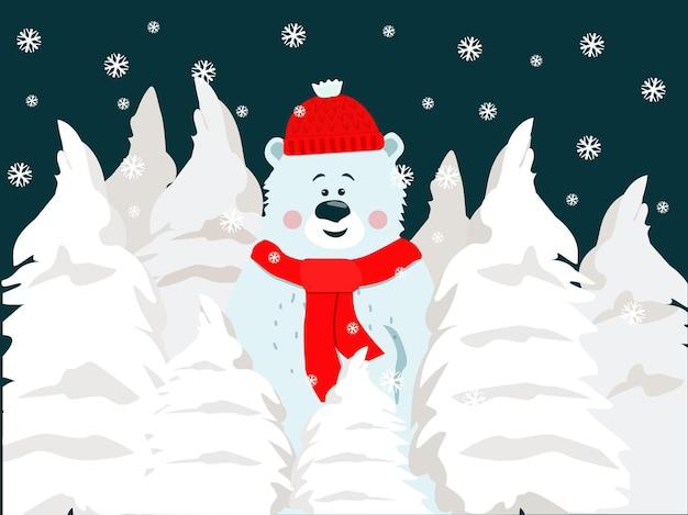 겨울 눈 덮인 숲에서 빨간 스카프와 모자와 흰색 만화 곰. 크리스마스 카드입니다.