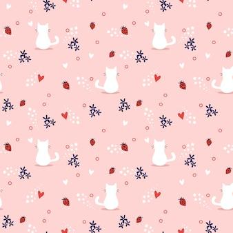 白猫とイチゴのシームレスなパターン