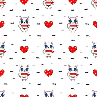 White cat and big love seamless pattern vector