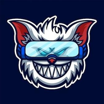 White cat esport gaming logo premium
