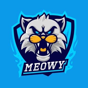 White cat esport logo vector illustration