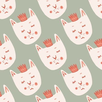White cat faces with crowns seamless doodle pattern. stylized print with light grey background.