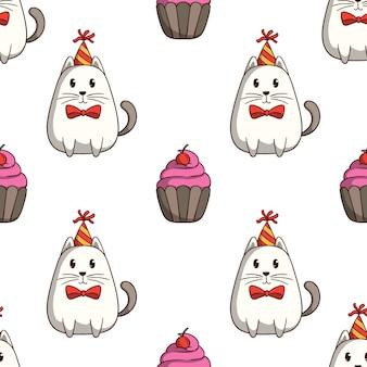 白い背景の上の色の落書きスタイルでシームレスなパターンのカップケーキと白い猫