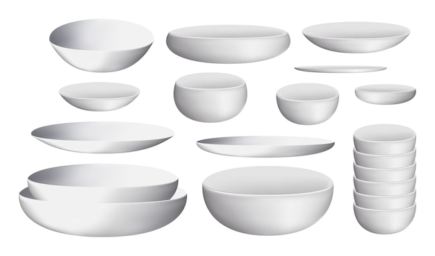 White ceramic bowl and dishes