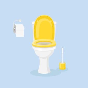 トイレットペーパー、ブラシ付きの白いセラミックトイレ。ホームインテリア