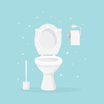 Белый керамический унитаз с туалетной бумагой