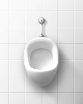 White ceramic urinal on wall in male toilet