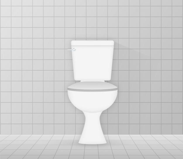 白い陶器きれいな便器アイコン。トイレ。ストックイラスト。