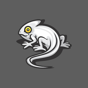 White chameleon vector logo illustration