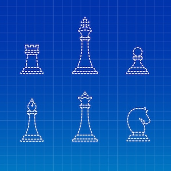 White chess pieces silhouettes