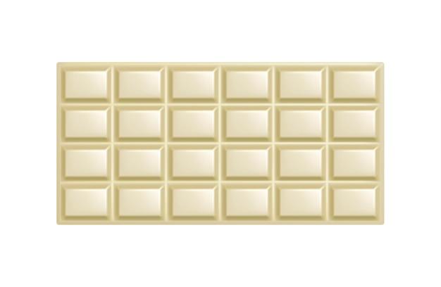 ホワイトチョコレートバー。分離されたリアルな甘いホワイトチョコレートの包まれていない正方形の部分。