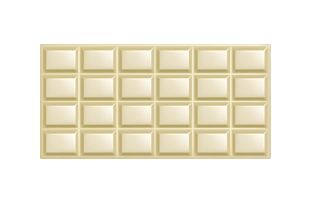 White chocolate bar. unwrapped square piece of realistic sweet white chocolate isolated.