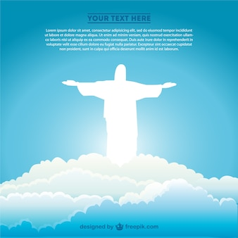 White christ the redeemer silhouette in the clouds