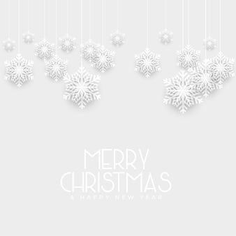 雪片の装飾とホワイトクリスマスの背景