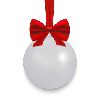 White christmas ball with ribbon and a bow