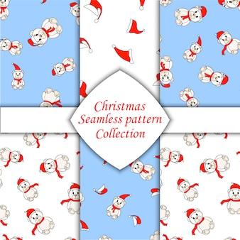 White christmas bears set of seamless pattern