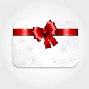 Белый рождественская открытка с красным бантом