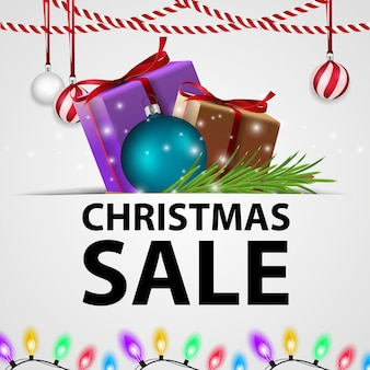 White christmas discount banner with gifts