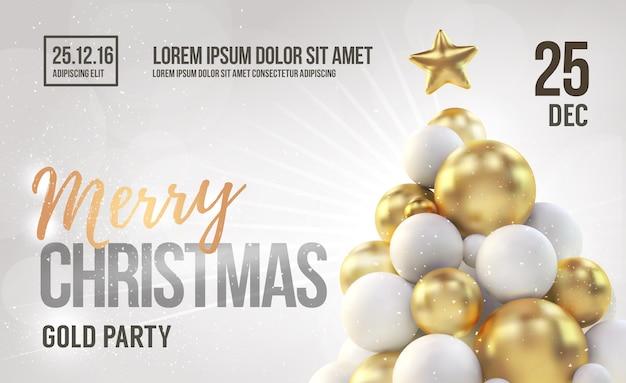 Белый шаблон рождественской вечеринки с золотой рождественской елкой.