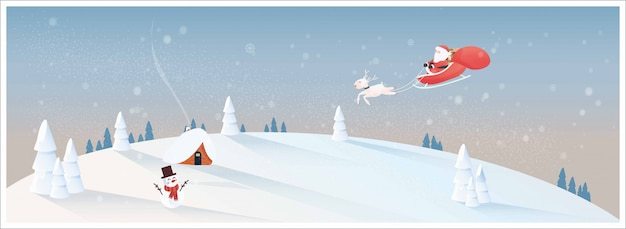 White christmas in rural village with santa claus