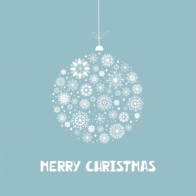 White christmas snowflake ball with lettering merry christmas on blue background