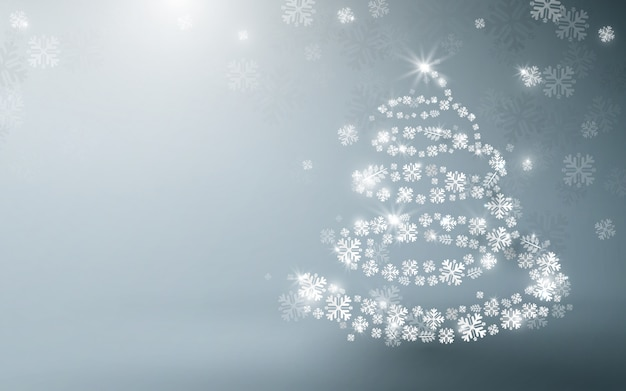 White christmas tree and sparkling lights garland and falling snowflakes background.