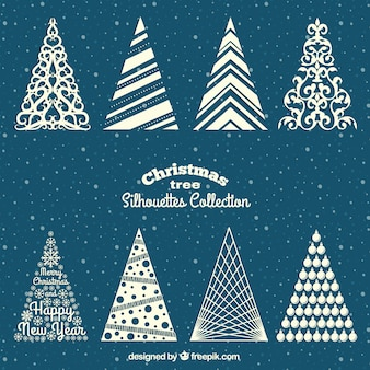 Белое рождество деревья силуэты