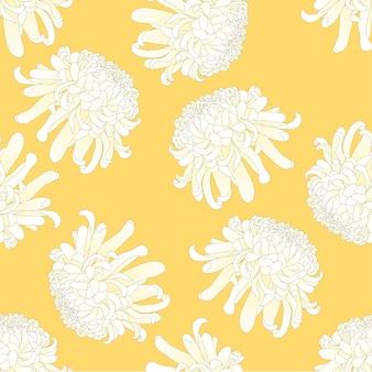 黄色の背景に白い菊花
