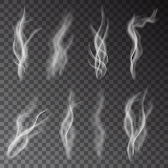 White cigarette smoke isolated on transparent background