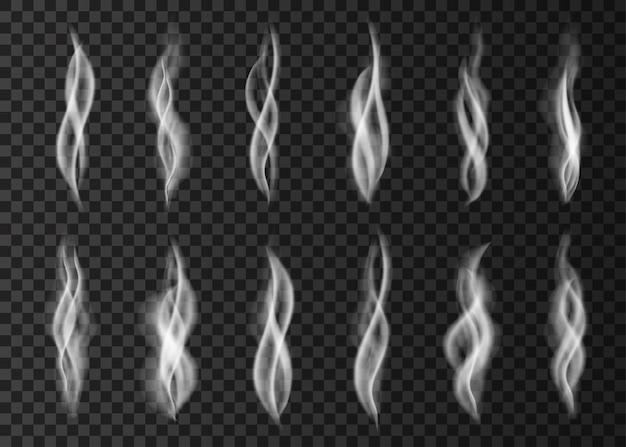 Набор белый сигаретный дым, изолированные на прозрачном фоне. готовьте на пару из чашки кофе или чая. реалистичные векторные иллюстрации.