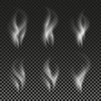 透明な背景の上の白いタバコの煙の波ベクトルイラストセット幻の画像の影