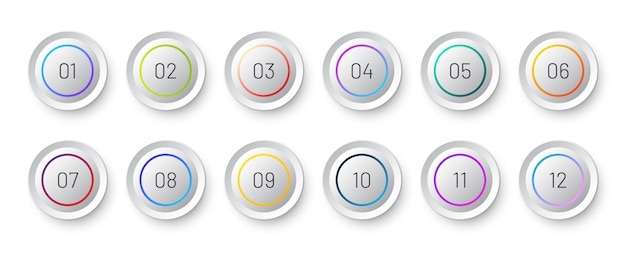 White circle 3d icon set with number bullet point from 1 to 12.